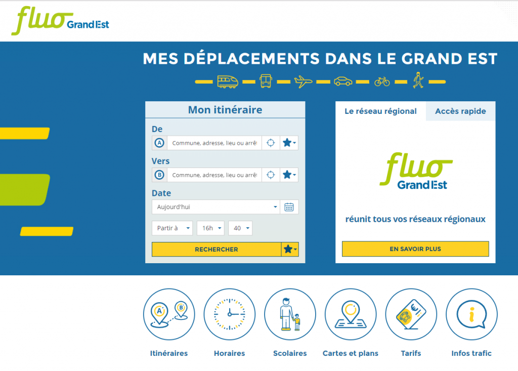 Site internet fluo.eu - transports en commun du Grand Est